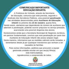 VINHEDO: Paralisação dos Auxiliares de Educação pode interromper atividades de creches nesta quarta-feira (23)