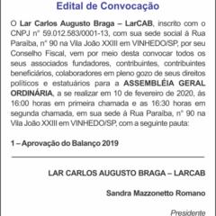 Utilidade Pública – Edital de Convocação LAR CARLOS AUGUSTO BRAGA – LARCAB