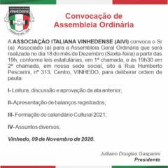 Utilidade Pública: Convocação de Assembléia Ordinária da AIVI – Associação Italiana Vinhedense