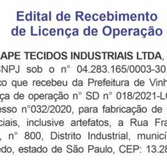Utilidade Pública – Edital de Recebimento de Licença Inbrape Tecidos Industriais