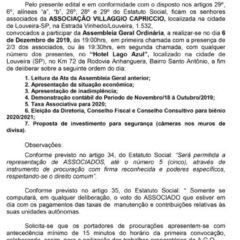 Utilidade Pública – Edital de Convocação Assembleia Geral Ordinária Associação Villaggio Capriccio