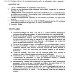 Utilidade Pública – Edital de Convocação Assembleia Geral Ordinária do GRAPE VILLAGE